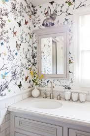 bathroom wallpaper. Feminine And Light, Butterfly Floral #wallpaper Adorns The Bathroom Of A Los Angeles Wallpaper S
