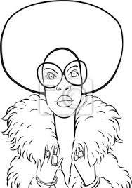 Image Dessin Du Tableau Blanc Femme Noire Avec Coiffure Afro