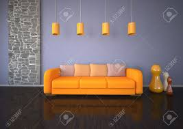 Orange Couch Living Room The Living Room With Orange Sofa Parquet And Stonewall Stock