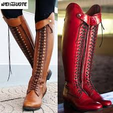 weinuote women s fashion horse riding boots lace up flat cross strap long boots vintage leather knee high botte femme