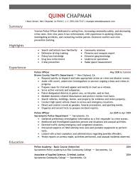 Resume Templates Field Officer Examples Police Emergency Services