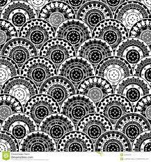Oosterse Bloemenachtergrond In Zwart Wit Vector Illustratie