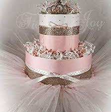 Amazoncom Pink Gold Mini Diaper Cake Tiara Tutu Baby Girl Baby