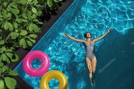 Summer Relax Woman Floating Swimming Pool Water Summertime
