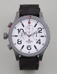 nixon 48 20 chrono leather watch metal white