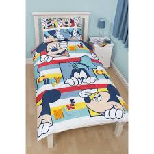 disney mickey mouse play reversible kids single duvet cover bedding set twin bed