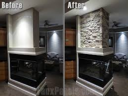 easy beautiful fireplace veneers creative faux panels before and after photo of corner wall covered in