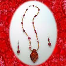 red gold lampwork glass bead murano pendant set