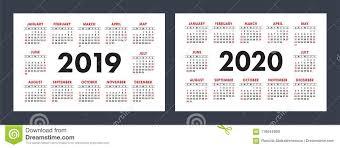 Basic Calendars Vector Calendars 2019 And 2020 Years Basic Minimalistic Design