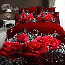 roses bed set red rose and baby breath printed cotton 4 piece bedding sets s n