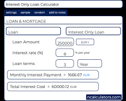 Interest Only Loan Calculation Interest Only Loan Calculator