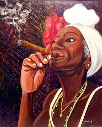 cuban art painting cigar lady by jose manuel abraham