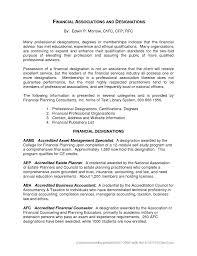 Cover Letter Financial Advisor Resume Objective Resume Objective For
