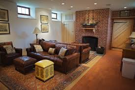 interior decoration charming traditional family room ideas with brick wall fireplace also tan leather sofa on charm impression living room lighting ideas