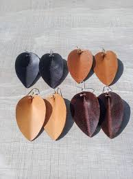 leather earrings leather petal earrings joanna gaines inspired leaf earrings you choose