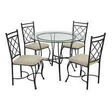 Glass top dining sets Ollivander Walmart Mainstays 5piece Glass Top Metal Dining Set Walmartcom