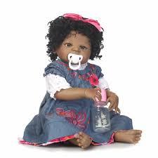 <b>55cm Full Body Silicone</b> Reborn Black Skin Girl Baby Doll Toy ...
