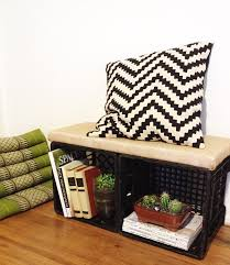 diy milk crate bench for library would use bigger cushion and a soft