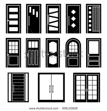 door clipart black and white. Vector Black Door Set On White Background Clipart And D