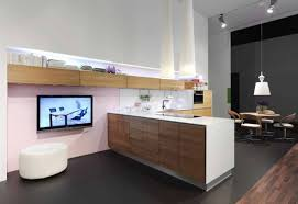 Modern Kitchen Furniture White Waterfall Benchtop Wth Reclaimed Timber Under