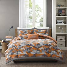 MODERN BOYS CAMO GREY ARMY CAMOUFLAGE ORANGE COMFORTER SET FULL / QUEEN ,  TWIN