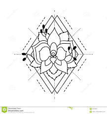 зацветите орхидея покрашенная в стиле татуировки с косоугольником и