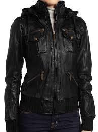 women s black lambskin detachable hooded leather er jacket