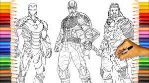 I would always go for captain america. Avengers Endgame Original Three Iron Man Captain America Thor Coloring Pages Youtube