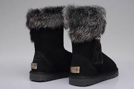 UGG 2894 Women Fox Fur Short Boots Black ...