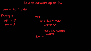 How To Convert Hp To Kw Electrical Formulas