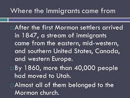 Image result for 1847, Mormons fleeing persecution back east began to settle what would later become Utah.