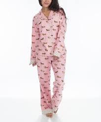 Munki Munki Pink Dachshund Flannel Pajama Set
