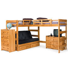 woodcrest heartland br casual style l shaped loft bed with built in bunk beds desk