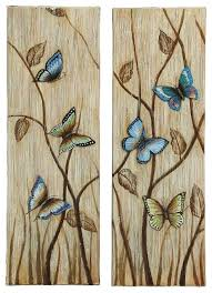 butterfly set of 2 canvas wall art blue beige brown family room decor on blue brown wall art with butterfly set of 2 canvas wall art blue beige brown family room