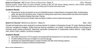 substitute teacher resume resume template substitute teacher student teacher resume samples