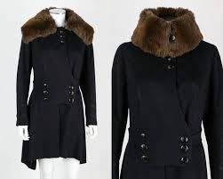 couture c 1910 s navy blue wool coat military inspired trim double ted on