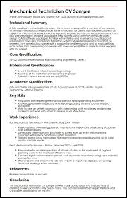 Engineering Skills Resume Mechanical Technician Cv Sample Myperfectcv