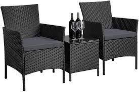 yaheetech 3pcs rattan patio chair