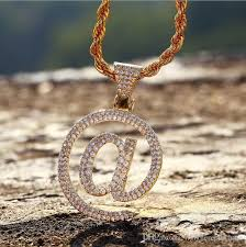 whole gold finish iced out custom question mark sign pendants necklaces charm bling paved cz cubic zircon men women hip hop jewelry mens pendant