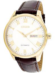 citizen men s nh8363 14a gold leather japanese automatic dress watch 0