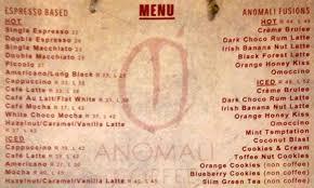 Coffee Menu Classy Menu Anomali Coffee Seminyak Best Restaurants Cafe In Bali Guide