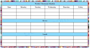 Class Schedule Excel Template Download Blank Child Weekly School Schedule Template Format Excel Free