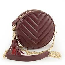 design round quilted genuine leather bag for women messenger bag with fringe wristlet lambskin female circle purse brand sac gold clutch leather purse from