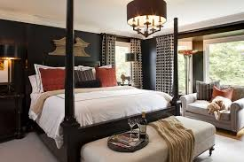 bedroom with black furniture. Enhance The Brightness In A Room With Black Walls By Using White  Bedspread And Bright Red Accents Throughout Room. Bedroom Furniture L