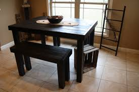 old and vintage pub style dining sets with black painted wood room table bench seat for