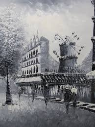moulin rouge paris oil painting canvas black white french cityscape modern art 1 of 1 see more