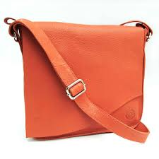 orange square cut edge leather bag