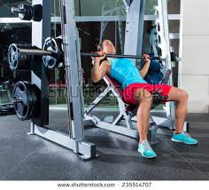 Barbell Incline Bench Press Woman Multipower Stock Photo 235514707 Smith Bench Press Bar Weight