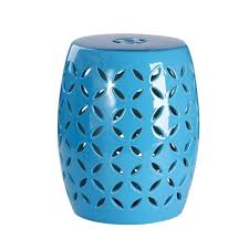 abbyson living albony ceramic garden stool in blue