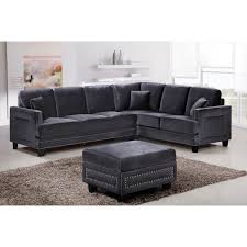 meridian furniture 655gry sectional ferrara sectional sofa in gray velvet w nailhead trim